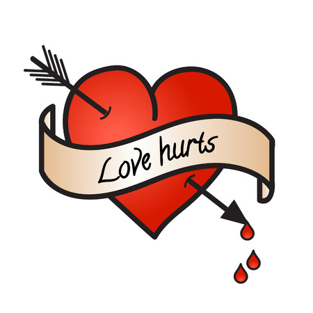 love hurts: Bleeding heart with love hurts text on white Illustration