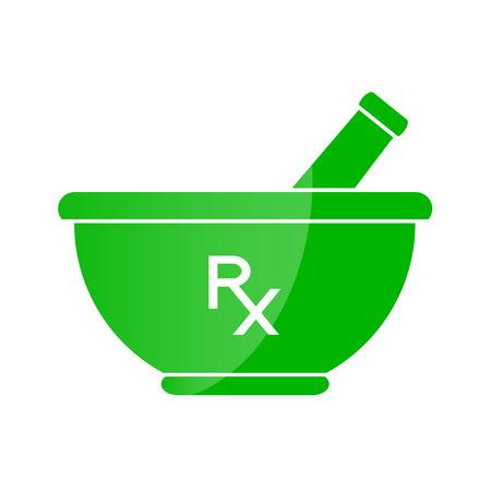 vijzel: Apotheek symbool - mortier en een stamper in groene kleur