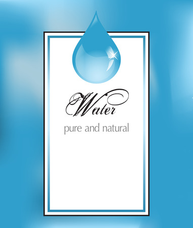Water label with drop Vector