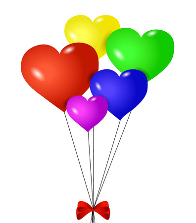 Red heart-shaped balloons with ribbon isolated Vector