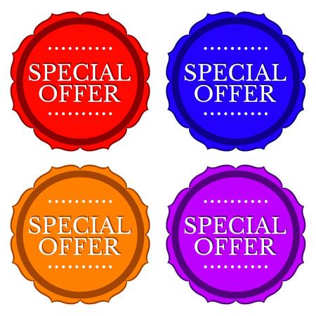 Oferta especial pegatinas en 4 colores aislados Vectores