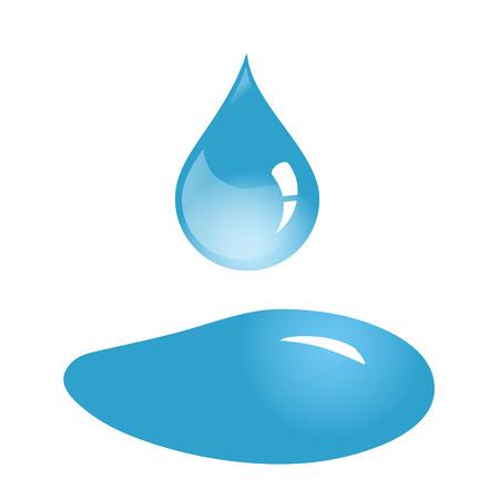 Gota de agua y derrame aislado, vector