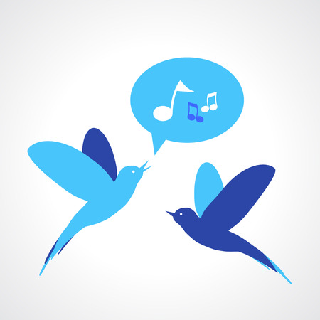high society: Two blue birds, one singing