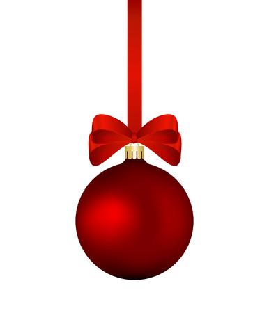 Red bolas de navidad con la cinta roja aislados