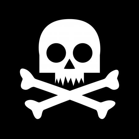 sterbliche: Mortal Gefahrensymbol - wei�er Sch�del auf schwarzem