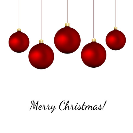 Red baubles on white - christmas vector background