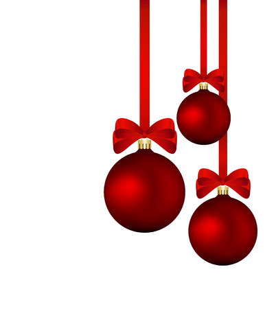 mash: Christmas background - red baubles with red ribbons isolated