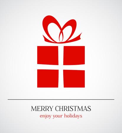 Feliz Navidad de fondo - regalo de color rojo sobre fondo blanco