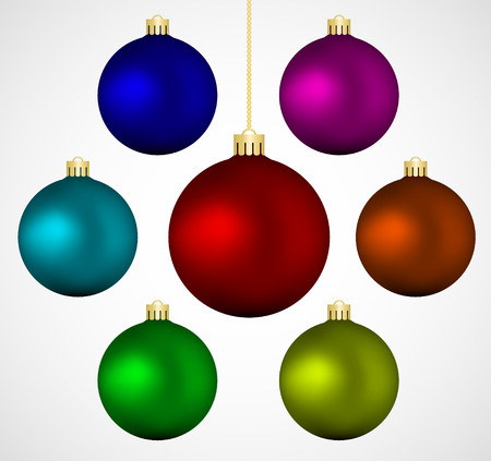 Conjunto de colorido vector bolas de navidad, aislados