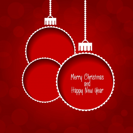 Christmas vector background - baubles with text Vector