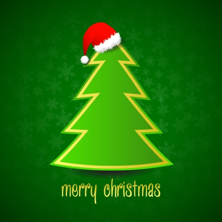 Green vector christmas tree with red santa hat on green snowflake background
