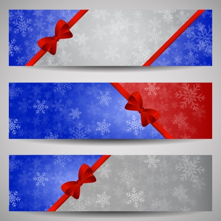 Set of blue, red and grey winter banners with red ribbon and snowflakes Vector