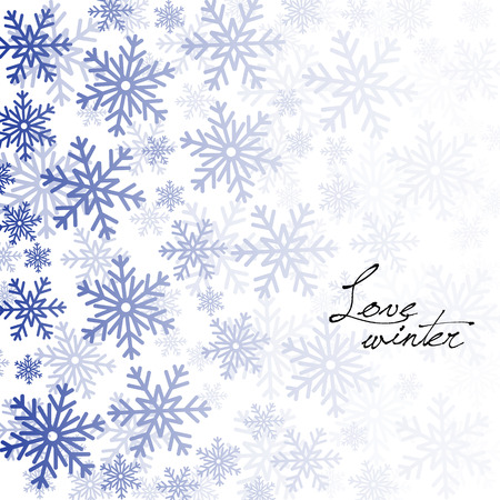 Winter background with blue snowflakes on white