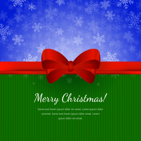 greet: Christmas blue snow background with red ribbon and greet cardboard with Merry Christmas text on it Illustration