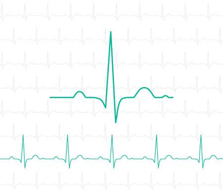 ekg: EKG symbol on white - vector medical background