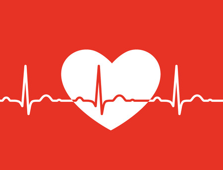 White heart with ekg symbol on red background - medical design Vector
