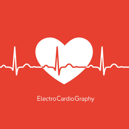 Medical design - white heart with cardiogram on red background Vector