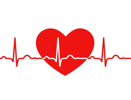 Red heart with ekg on white - medical design Illustration