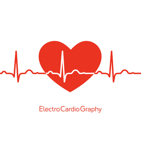 Medical design - red heart with cardiogram on white background Illustration
