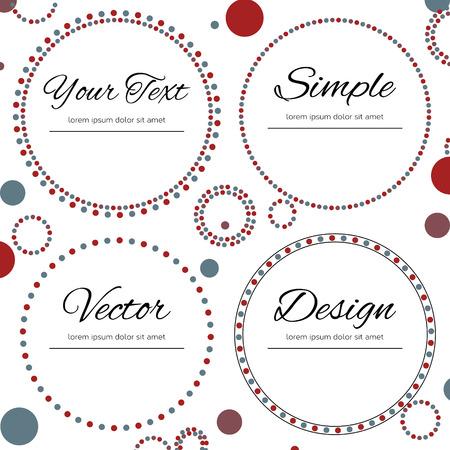 Conjunto de cuatro c�rculos punteados con lugar para el texto en color rojo y azul sobre fondo blanco