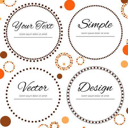 marcos redondos: Diseño de puntos en colores del otoño para su texto - cuatro círculos punteados Vectores