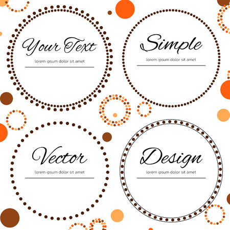 Dotted design in autumn colors for your text - four dotted circles Векторная Иллюстрация