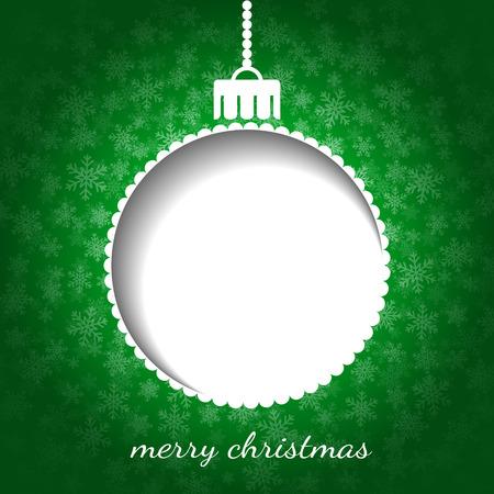 Gr�fico de Navidad en color verde con la chucher�a, la nieve y el lugar de texto o imagen Vectores