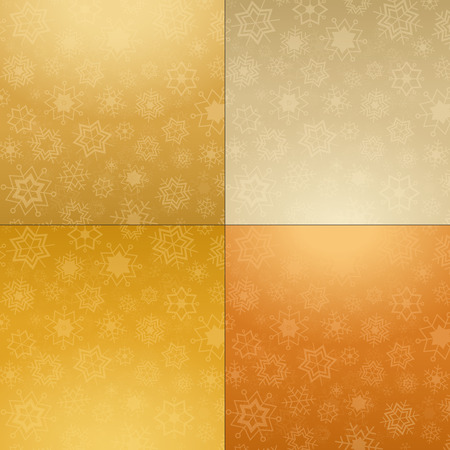 comfy: Gold, orange, brown and grey background with white snowflakes
