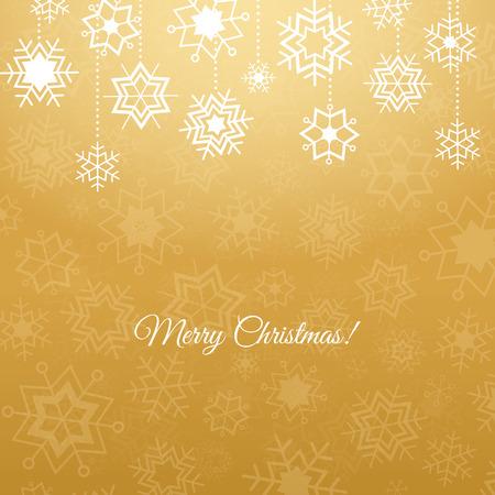 Fondo del invierno de oro y copos de nieve blancos decorativos Vectores