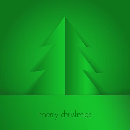 merry christmas text: �rbol de papel verde y Feliz Navidad del texto Vectores