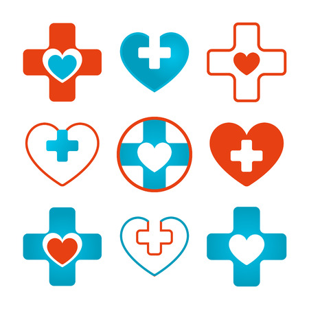 combining: Blue and red medical icons combining heart and cross elements
