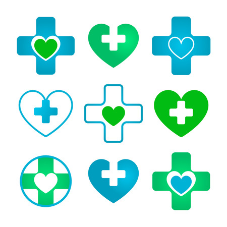 infirmary: Set of vector heart and cross based icons in blue and green