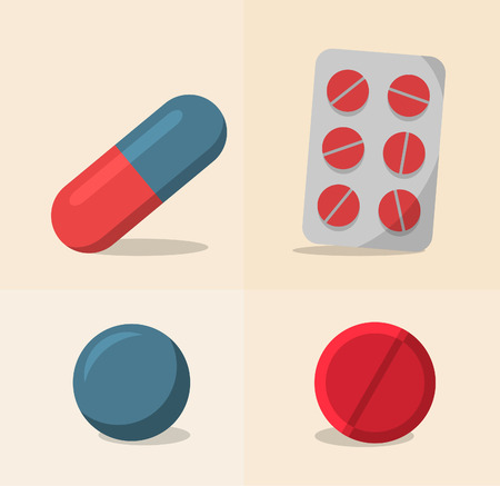 dosage: Various dosage forms in blue and red