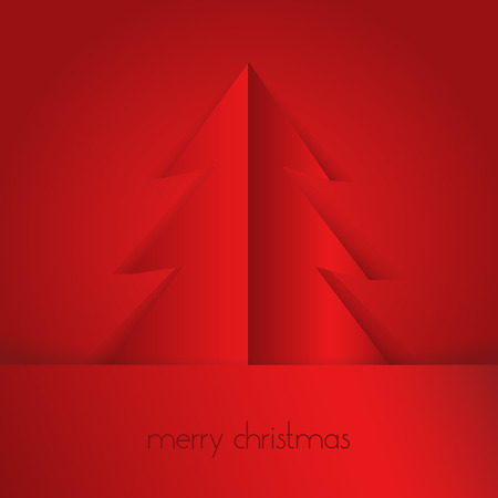 merry christmas text: Red paper tree and Merry Christmas text