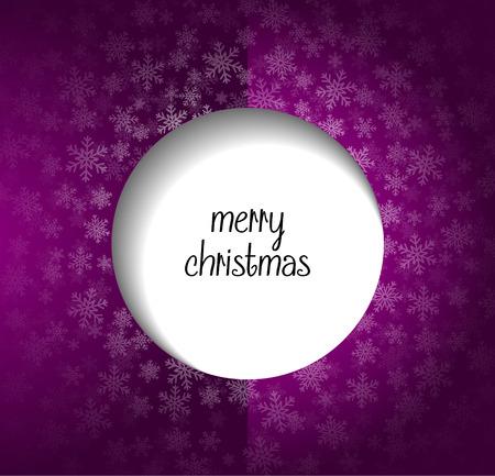 Nieve en el fondo p�rpura con el texto de la Feliz Navidad
