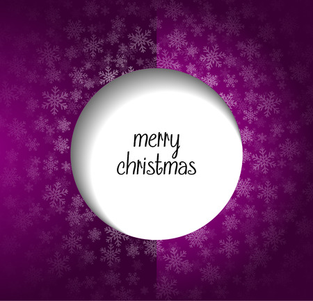 merry christmas text: Snow on purple background with merry christmas text Illustration