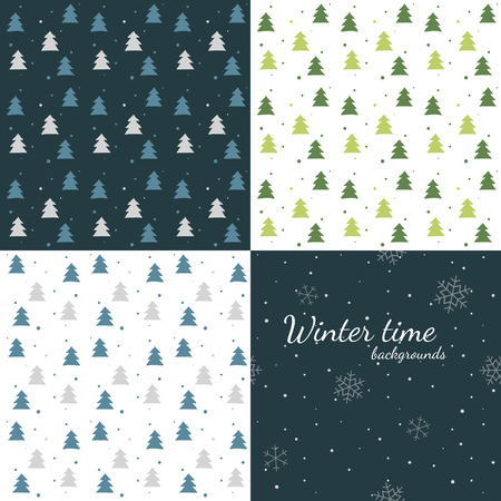 snowfall: Dark and light winter backgrounds - trees and snowfall Illustration