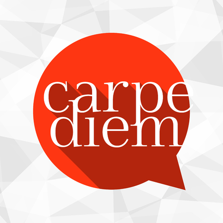 carpe diem: Red talk bubble with white text. Illustration