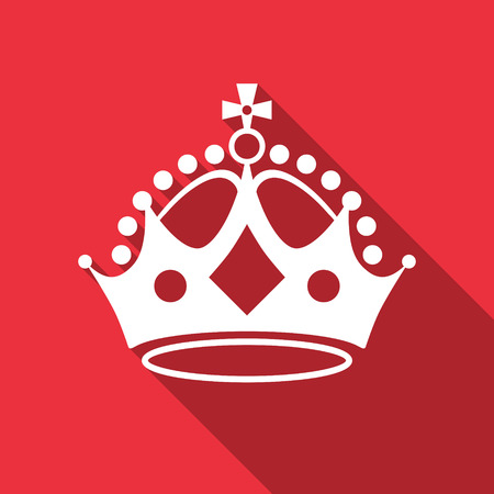 queen crown: Corona blanca en rojo. Ilustración del vector.