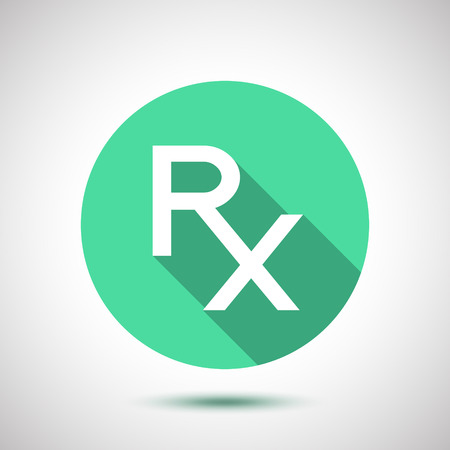 rx: White Rx sign as a prescription symbol. Illustration
