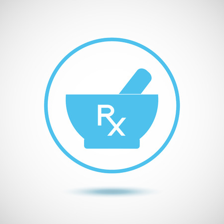 Blue mortar and pestle in a circle and white Rx.