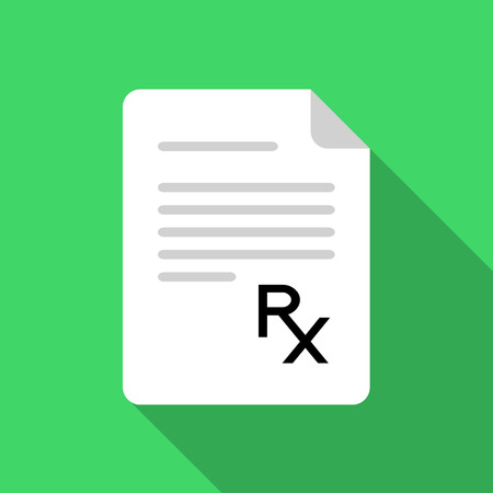 rx: White paper with Rx sign on green background
