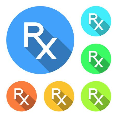 Rx as a prescription symbol on circles of different colors Vectores