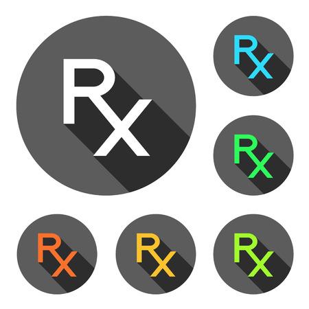 Rx in verschillende kleuren op grijze cirkels met lange schaduw