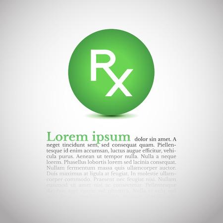 prescribe: Rx prescription icon and place for your text.
