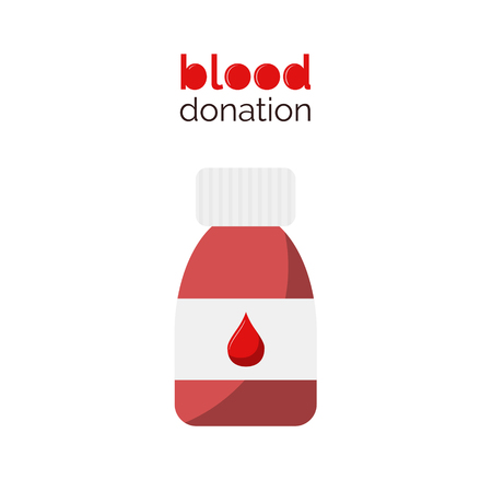 Blood donation design in vector. Pill bottle with blood. Flat style vector illustration. Donate blood. Illustration