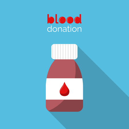 Blood donation design. Bottle with blood. Red blood drop and text on blue background. Flat style vector illustration. Donate blood. Illustration