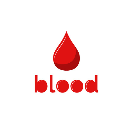Red blood drop on white background. Red blood style text. Donate blood.