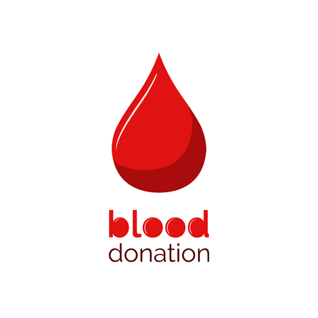 Blood donation design. Red blood drop with text. Donate blood.