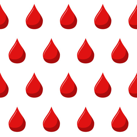 Red blood drops background. Seamless pattern. Red drops of blood on white background.
